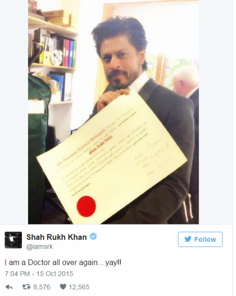 Shah Rukh Khan: I am a Doctor all over again…yay