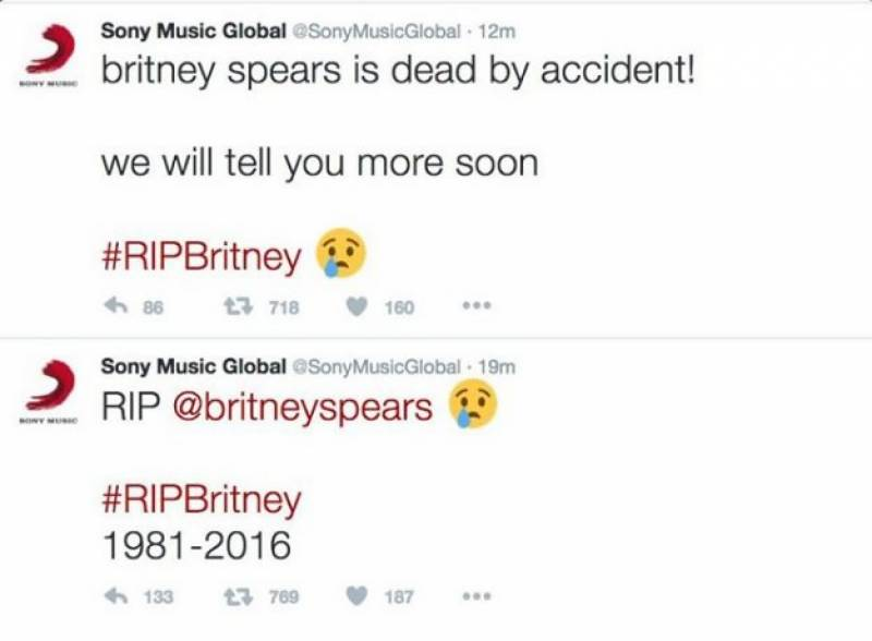 Britney Spears' fake death tweets sent after Sony Music's Twitter hacked