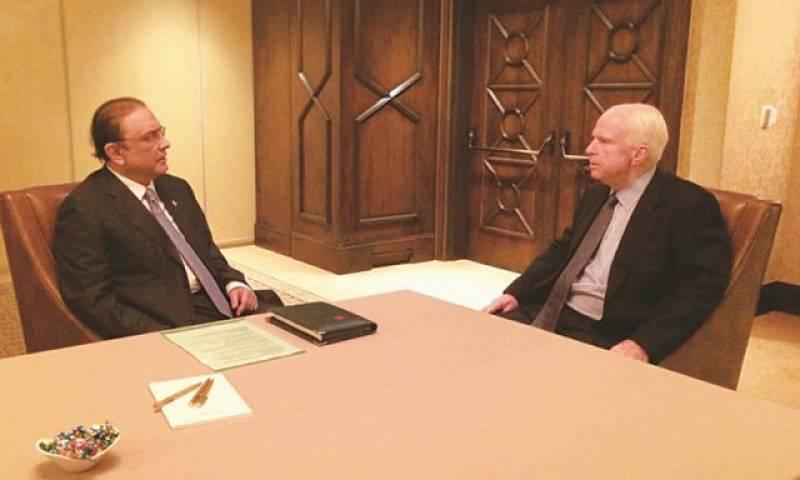 Senior US Senator McCain meets Former President Zardari