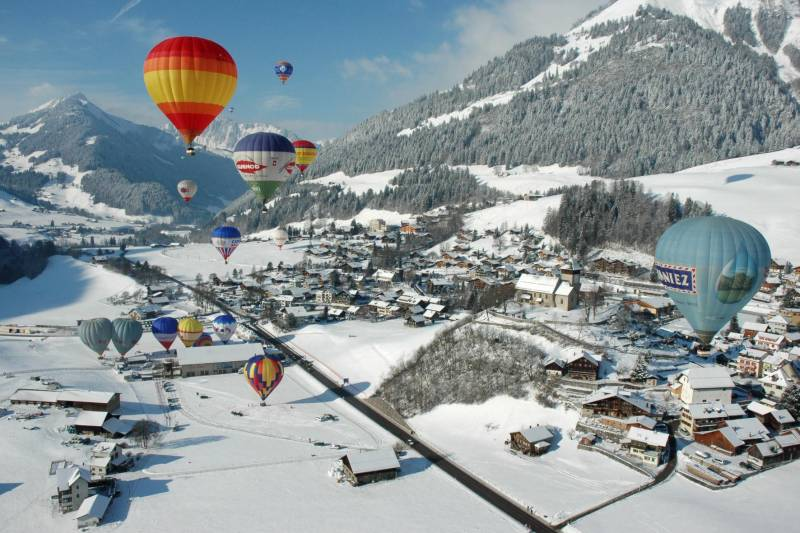 Colorful Hot-Air Balloon festival in Switzerland