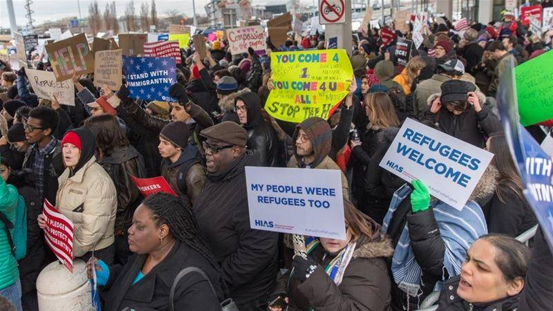 JFK airport protest over Trump's refugee ban