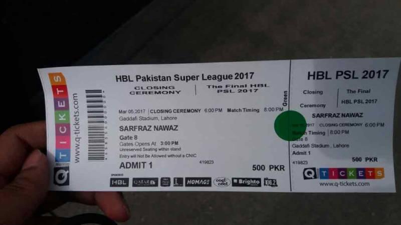 PSL final tickets on sale