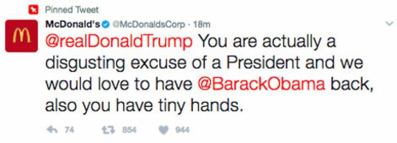 McDonald official account declares Trump 'disgusting excuse of a president'