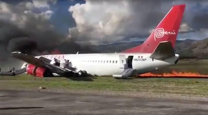 Boeing jet catches fire in Peru