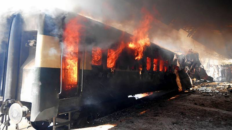 Train catches fire near Sehwan Sharif