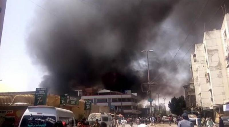 Fire at wood warehouse in Karachi's Saddar nearly extinguish