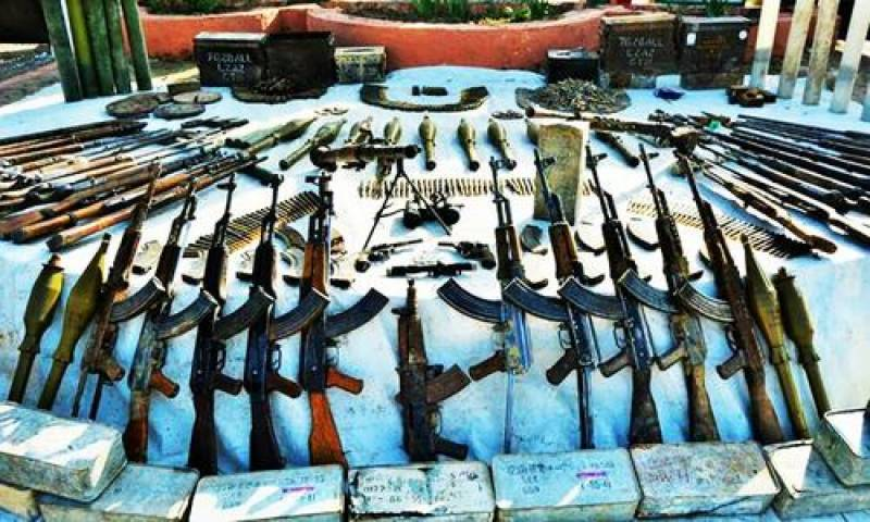 Huge cache of weapons recovered during intelligence operations: ISPR