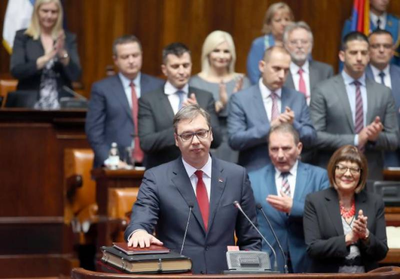 Serbia's conservative leader Aleksandar Vucic sworn in as president