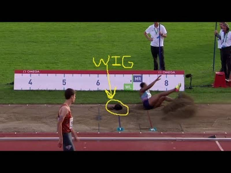 Nigerian athlete's wig falls off during long jump