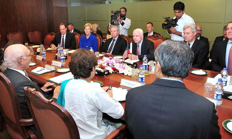 US Senators delegation meets Sartaj Aziz