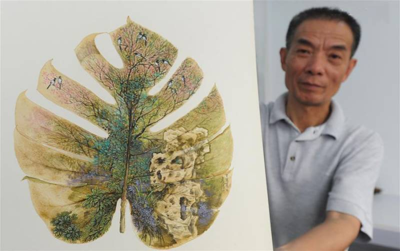 Chinese artist creates series of leaf paintings