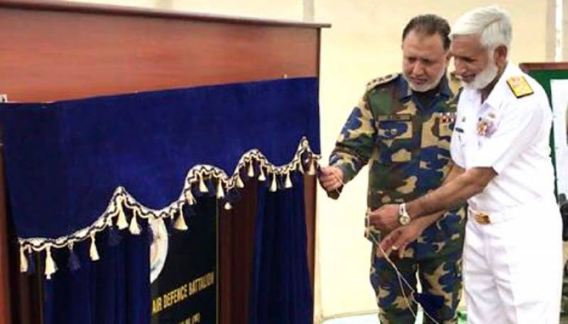 Naval chief Admiral Zakaullah performs ground breaking ceremony of Air Defence Battalion