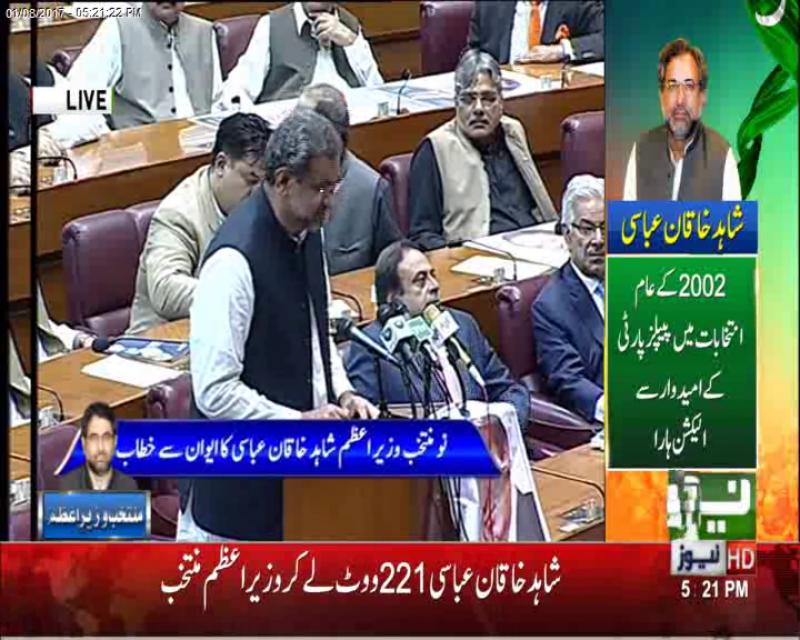 Shahid Khaqan Abbasi elected as PM