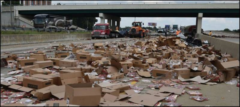 Watch: Pizza Explosion causes traffic jam