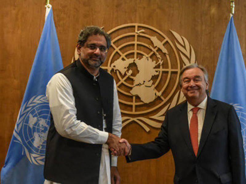 PM Abbasi meets UN Secretary-General, demands appointment of special representative for Kashmir