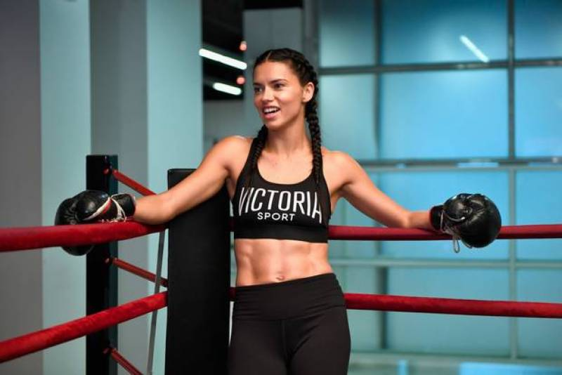 Victoria's Secret model Adriana Lima hits the boxing ring