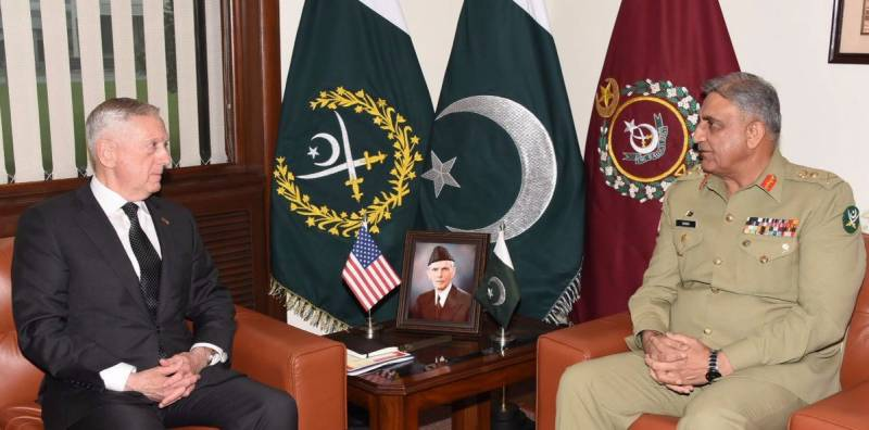 COAS Bajwa meets Mattis over Pakistan's concerns regarding India using Afghan soil