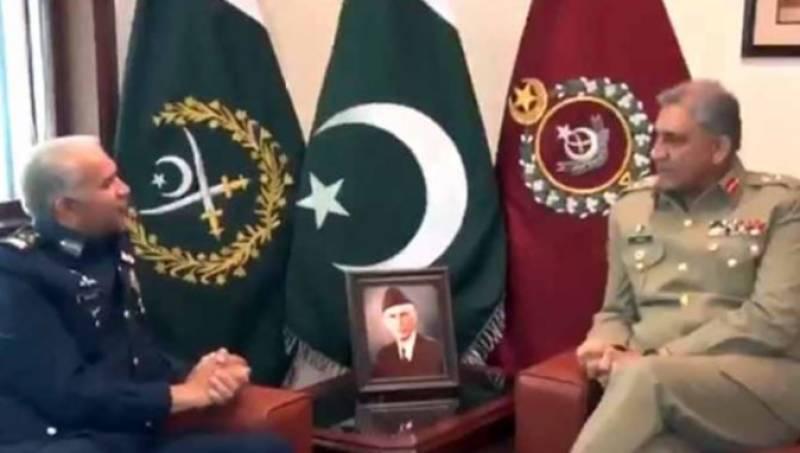 CAS Air Chief Marshal Khan calls on COAS Bajwa at GHQ