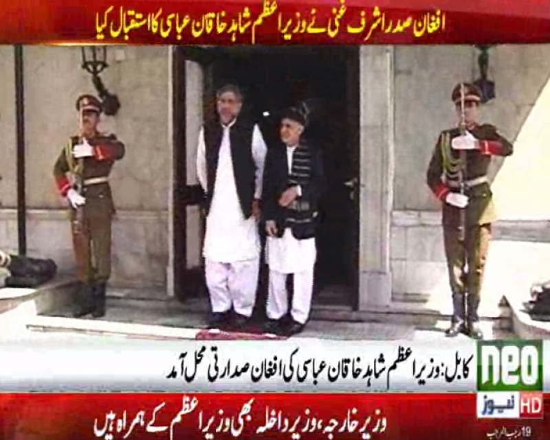PM Abbasi reaches Afghan presidential office to reduce tensions