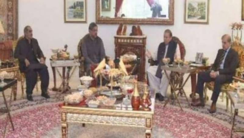 Abbasi, Shehbaz meet former PM Nawaz at Jati Umra