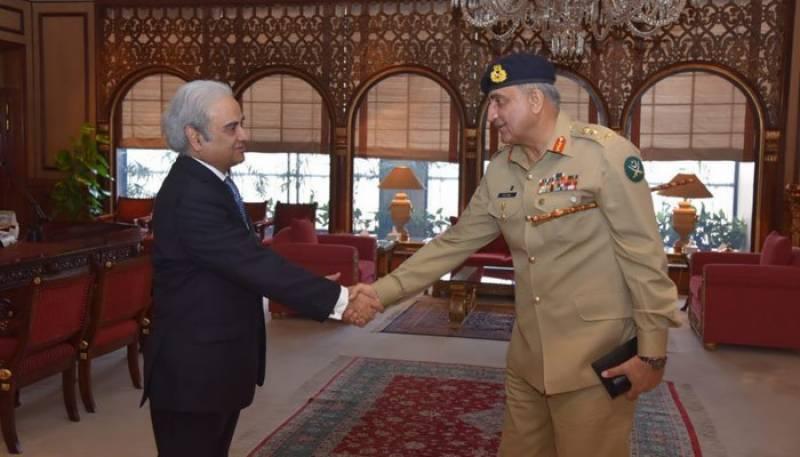 Army chief Bajwa meets interim PM Nasirul Mulk