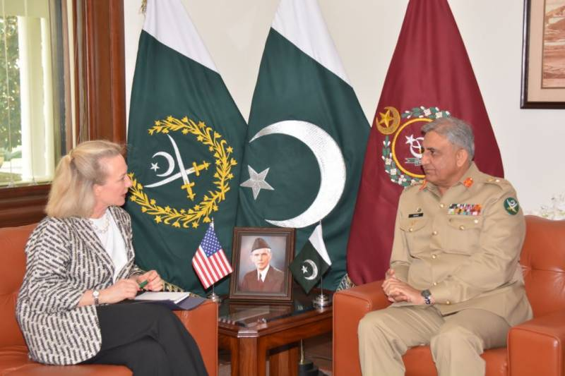 Alice Wells called on General Bajwa, discussed issues of mutual interest