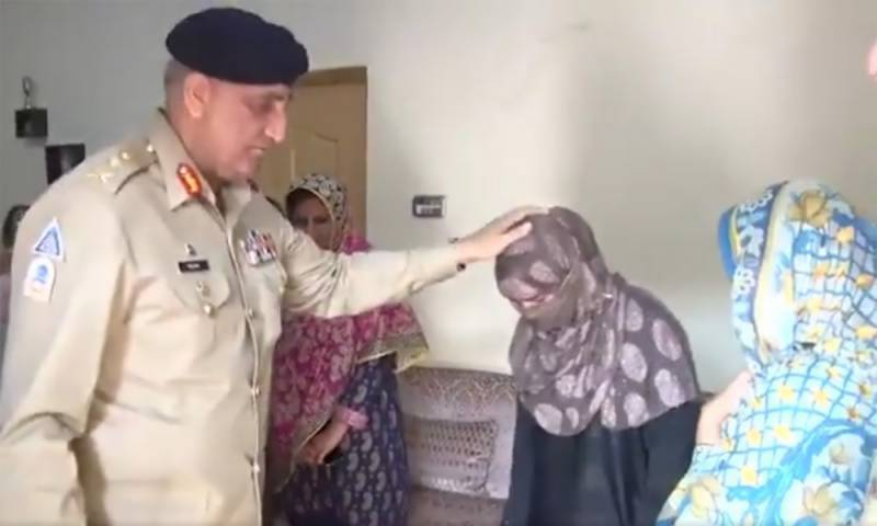 COAS Bajwa, wife visit family of martyred police sub-inspector
