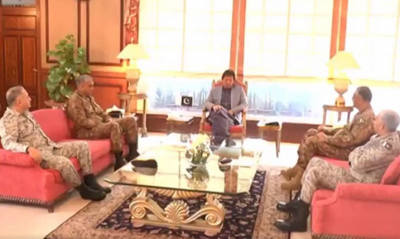 Chairman Joint Chiefs of Staff, all three services chiefs call on PM Imran