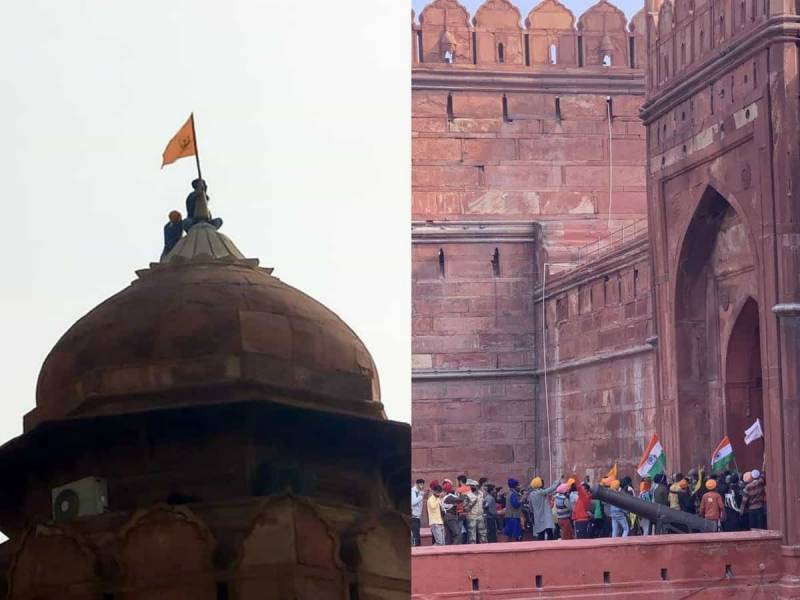 protesting, farmers, khalistan, flag, delhi, fort, neo tv