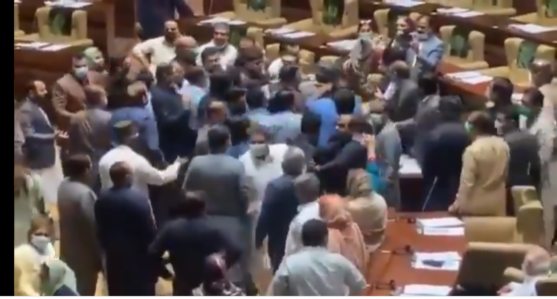 Rumpus in Sindh Assembly as PTI lawmakers scuffle with dissident MPAs