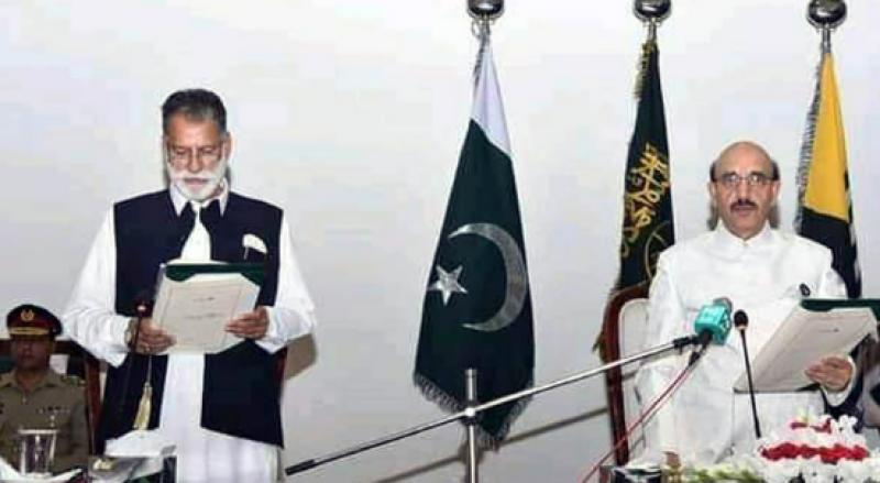 abdul, qayum, niazi, ajk, neo tv, takes oath, PM
