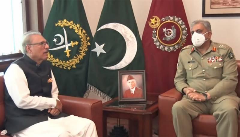President Alvi visits GHQ, acknowledges Pakistan Army's contribution and sacrifices