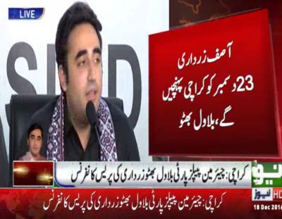 Asif Ali Zardari to return on Dec, 23, says PPP Chairman Bilawal