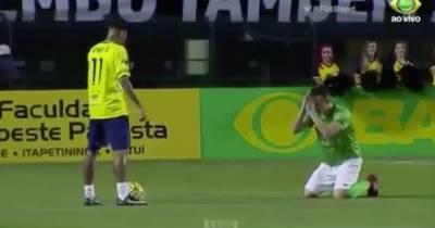 Opponent Defender caught begging Neymar not to destroy their defence line