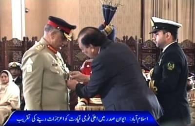 President confers Nishan-e-Imtiaz (Military) on Gen Zubair Hayat, COAS Bajwa