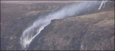 Watch: Strong winds blow Scottish waterfall backwards