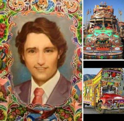 Look who's picture is painted at the back of a Pakistani truck