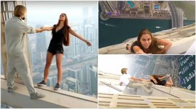 Video: Russian model hanging down from Dubai skyscraper just to click selfie