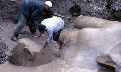 Ozymandias statue found in mud