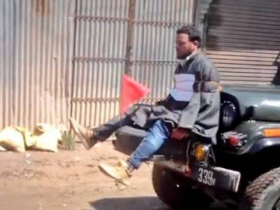 Video: Indian troops tied Kashmiri youth in front of jeep