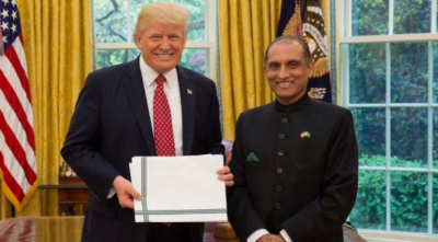 Aizaz Ahmad Chaudhry presents credentials to Trump