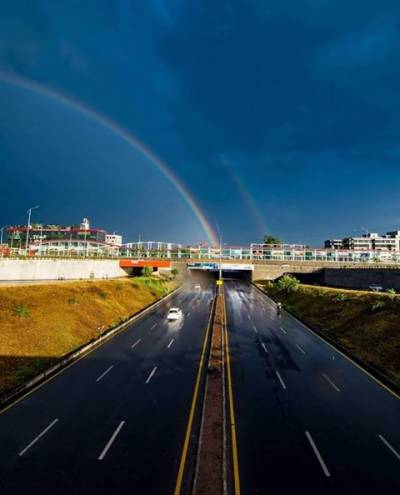 Amazing sights of double rainbow over Islamabad