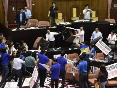 Taiwanese parliament change into fighting arena