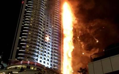 Fire engulfs Dubai skyscraper for second time