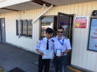 Look! 14 year old flies plane, sets world record
