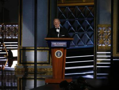 Emmy winners throw jabs at Trump, Spicer wheels into spotlight