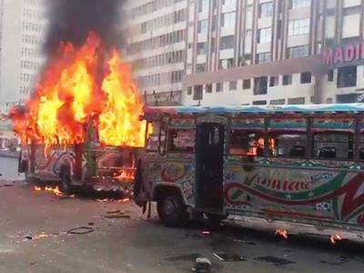 Karachi: Mob sets buses on fire after accident kills six-year-old