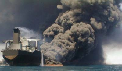 Iranian oil tanker burns, 32 missing after collision off China's coast