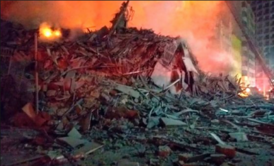 1 dead, 3 missing as blazing building collapses in Brazil