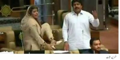 Chaos in Sindh Assembly as Seher Abbasi raises shoe at deputy speaker